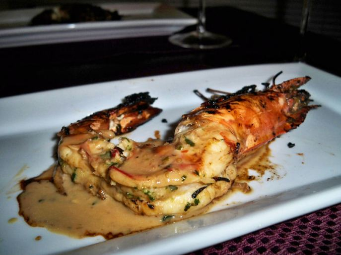 Roasted Prawn in White Wine, Chive butter, Garlic Cream.
