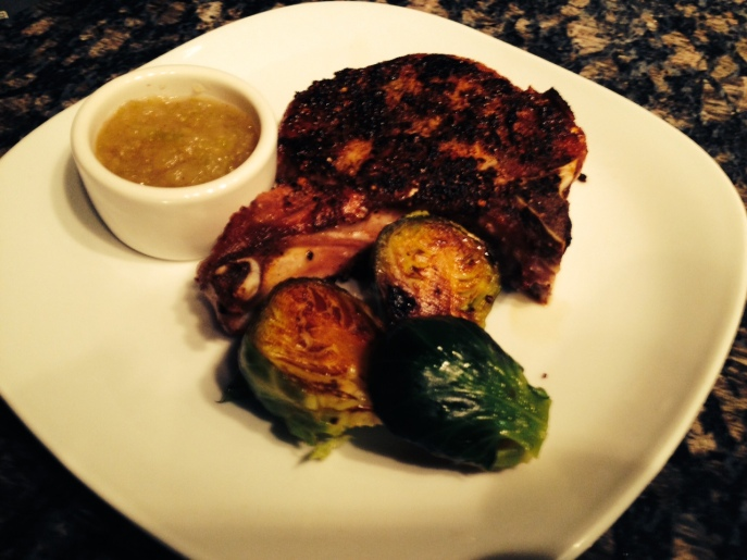 Italian Spice Rubbed Pork chop, cinnamon apple sauce & pan roasted Brussel sprouts
